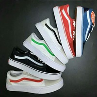 """Vans"" With Warm Casual Shoes Men and women classic black cloth shoes (white line) G-MPYDX"