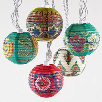 Rio Carnaval Stripe Paper String Lights, Set of 35