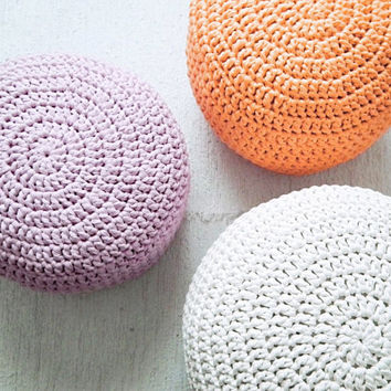 Light Orange ottoman Nursery Footstool - Light Orange Ottoman Pouf - tangerine Color Crochet Floor Cushions - Eco friendly Housewares