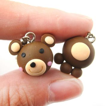 Adorable Teddy Bear Themed Polymer Clay Dangle Earrings | DOTOLY