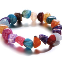 New bracelet irregular ice crack color gravel agate hand beads beads natural stone yoga chain