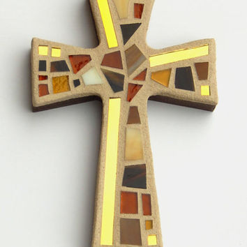 "Mosaic Wall Cross, Small, Shades of Brown + Gold Mirror,  Handmade Stained Glass Mosaic Cross Wall Decor, 6"" x 4"""