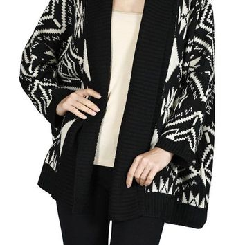 Batwing Long Sleeve Jacquard Open Front Knit Cardigan