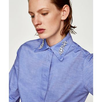 SHIRT WITH BEJEWELLED COLLAR DETAILS