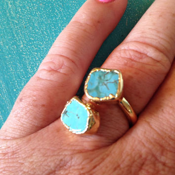 Double Turquoise 18k Gold Plated Ring // Boho Ring // Turquoise Ring