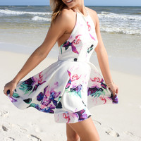 Made Of Magic White Floral Halter Cocktail Dress
