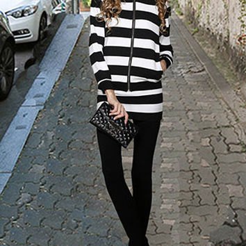 Long Sleeves Zippered Striped Hoodie and Faux Twinset Pants Suit