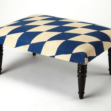 Butler Lucinda Blue & White Harlequin Cocktail Ottoman