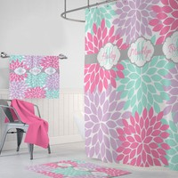 Sisters Flower SHOWER CURTAIN, Three Sisters Shared Bathroom Decor, Girl MONOGRAM Personalized Bathroom Shower Curtain, Bath Towel Bath Mat