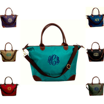 Personalized with Embroidery Designer Inspired Nylon and Leatherette Medium Tote Bag With Detachable Strap