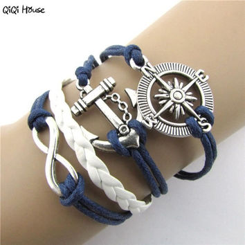 Bohemian Leather Bracelet Anchor Steering-Wheel Unisex Bracelets For Women Men Jewelry Bracelet Homme#A11