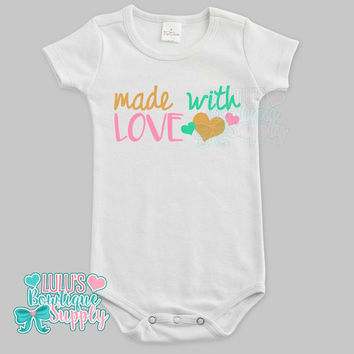 Made with Love Custom Baby Bodysuit, Baby girl clothes, Gold Glitter Made with Love Shirt, Baby Gift, Custom Baby Clothes, New Baby Gift