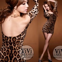 Womens Sexy Leopard Long Sleeves Low Cut Backless Clubbing Micro Mini Dress Chic