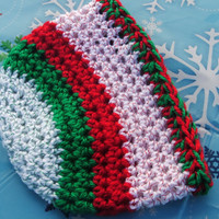 Holiday Special Crocheted Newborn Holiday Stripe Beanie Ready to ship