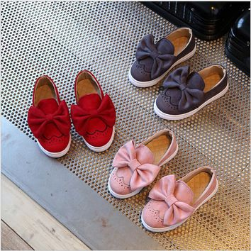 Girls Slip On Bow Sneakers
