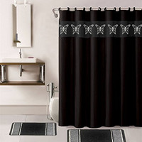 15 PC Bathroom Accessory Collection Set,Shower Curtain with Hooks Bath Mats