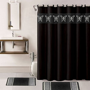 15 PC Bathroom Accessory Collection SetShower Curtain With Hook
