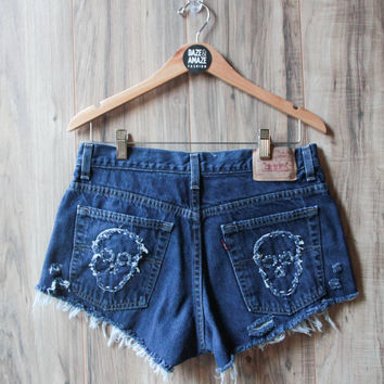 Levi Skull Embroidered Vintage Distressed High Waist Cut Off Denim Shorts