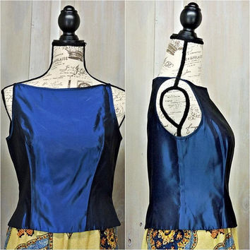 Midnight Blue camisole top / size M / 7 / 8 / 80s party top / iridescent / Formal / satin sleeveless / spaghetti strap / Te Rez New York