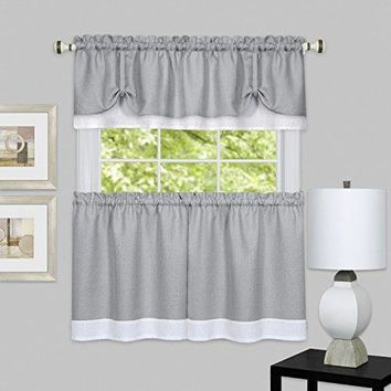 Ben&Jonah Collection Darcy Window Curtain Tier and Valance Set 58x24/58x14 - Grey/White