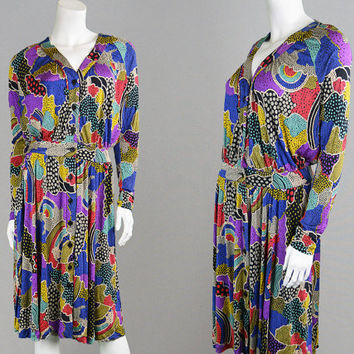 Vintage 70s 80s MISSONI Dress Silk Jersey Knit Dress Designer Dress Rainbow Dress Neiman Marcus Pucci Style Stretchy Dress Made in Italy