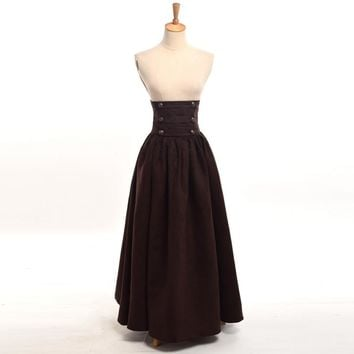Vintage Steampunk Skirt Victorian Gothic High Waist Maxi Long Walking Slim Skirts Blue/Brown/Purple/Green Women Costume
