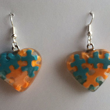 Autism Awareness Heart Puzzle Piece Clay Resin Dangle French Hook Earrings, Autism Jewelry, Autism Gift, Autism Mom, Orange, Aqua Blue