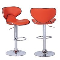 Bareneed Orange Modern Bar Stools with Backs (Set of two)