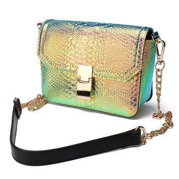 Women Hologram Laser Alligator PU Leather Crossbody Bags