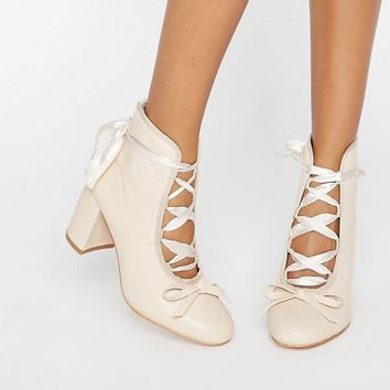 Daisy Street Nude Ballet Mid Heeled Ankle Boots at asos.com
