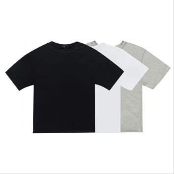 Round neck solid color casual shirt[10077400839]