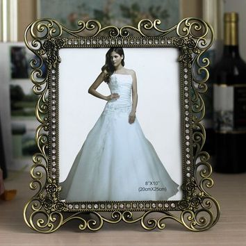7inch 10inch Vintage Bronze Photo Frames Metal Alloy Picture Frame Wedding Bridal Favor Gifts home decoration XC029