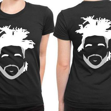 The Weeknd Stencil Hairstyle 2 Sided Womens T Shirt