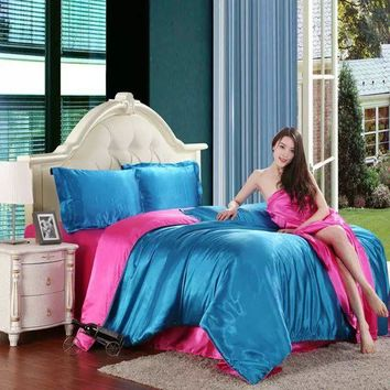 Classic imitate silk feel satin plain solid coffee pink purple bedding set duvet cover set bedclothes bed sheet set