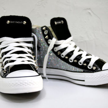 Glitter Converse, Personalized Converse, Silver Glitter with Silver Cone Studs For Christmas Gift by CUSTOMDUO