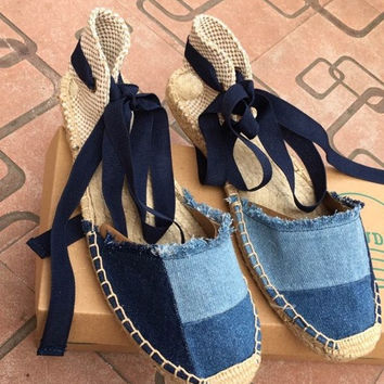 female 2017 fishion casual Denim ankle strap cross-tied hemp woven Rome style flat sandals fisherman shoes