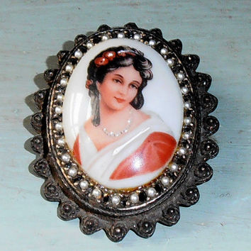 Signed Limoges France Cameo Brooch Hand Painted Lady in Red Porcelain Estate Pendant Pin