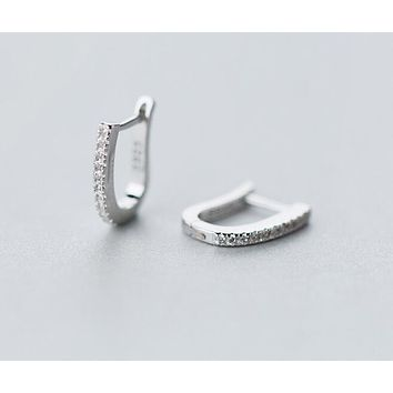 "Real. 925 Sterling Silver crystals ""U"" Shape leverback Earrings Tinny/small hoop jewelry 10mm*12mm GTLE921"