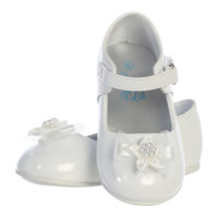 White Dress Shoes with Rhinestone Centered Flower on the Toe & Velcro Closure (Baby Girls)