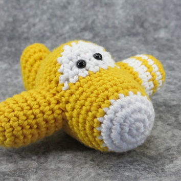 Amigurumi airplane rattle crochet baby toy - organic cotton - golden yellow and white