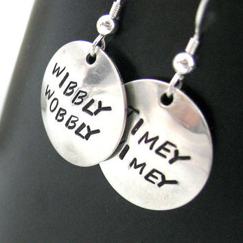 Doctor Who Sterling Silver Earrings Wibbly Wobbly by oneeyedfox