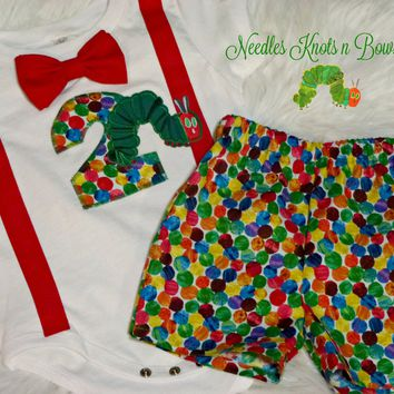 Boys Very Hungry Caterpillar Birthday Outfit,  Boys First or 2nd Birthday Outfit