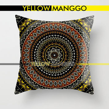 """Rounded Black Mandala Pillow Case Cover Bedding 18""""x18""""  Unique Gift."""