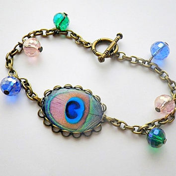 peacock tail feather cameo charm bracelet