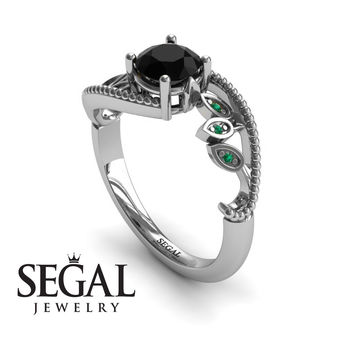 Unique Engagement Ring 14K White Gold Leafs And Branches Victorian Ring Filigree Ring Black Diamond With Green Emerald - Audrey
