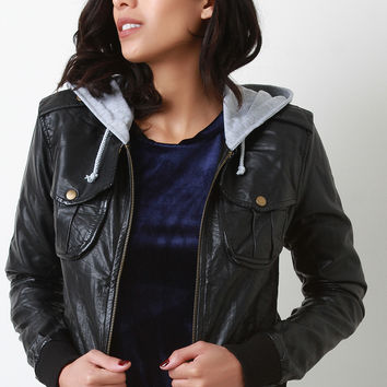 Vegan Leather Rib Kit Trim Hooded Jacket | UrbanOG