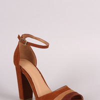 Bamboo Suede Pleated Ankle Strap Chunky Heel | UrbanOG
