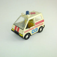 Rare Vintage Soviet Ambulance Tin Toy Car Made in USSR Tin Toy Gift Car Vehicle, CCCP Medical Car Emergency Car Toy