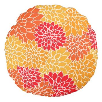 Cute Vintage Dahlia Flower Pattern Girly Floral Round Pillow