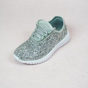 lil' belle sparkle on tennis shoes - silver